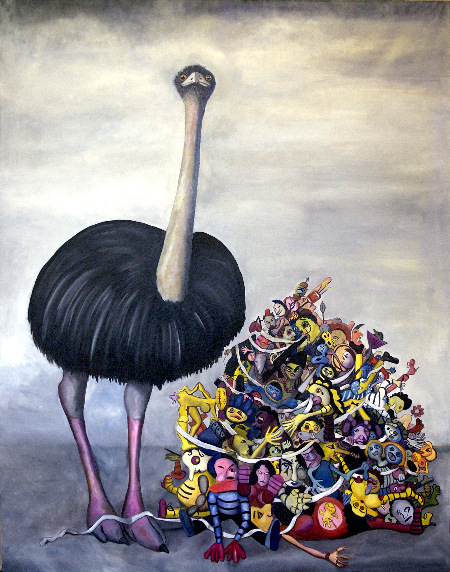 DER UNTERGANG (TRIPTYCH) THE OSTRICH - 155CM X 122CM - OIL ON CANVAS - 2008